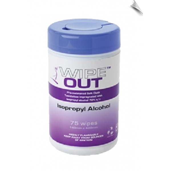 Wipe Out Isopropyl Wipes, Tub of 75
